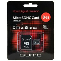 QUMO  microSDHC Class 10 Card 8GB + SD adapter