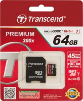 Transcend  microSDXC Class 10 UHS-I Card 64GB + SD adapter