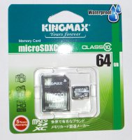 64GB Kingmax microSDXC pro Class 10 + SD adapter, waterproof