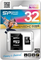 32GB Silikon-power microSDHC Class 10 + SD adapter